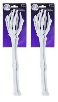Forum Novelties 80848 Two Sets of Plastic Skeleton Arms & Hands Serving Forks or Tongs, Standard