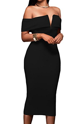 Alvaq Women's Sexy V Neck Off The Shoulder Evening Bodycon Club Midi Dress, Black, XL