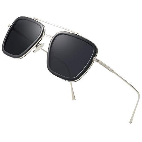 Retro Square Aviator Sunglasses for Men Women Classic Tony Stark Sunglasses Square Pilot Shades (Silver Black/Black Grey Lens) (Herren Square Aviator Sonnenbrillen)