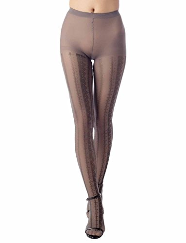 iB-iP Women's lined Prints seamless stocking Mid Waist Sheers Tights Pantyhose, Size: M-L, Grey
