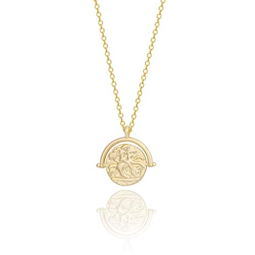 18k Gold Plated Medallion Necklace Coin Pendant Round Circle Disk Minimalist Jewelry for Women 20'' - Coin Pearl Layered Necklace