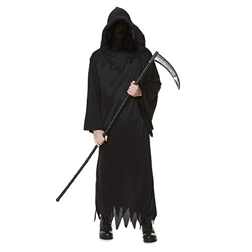 Grim Reaper Costume - Halloween Mens Hooded Death Dark Wizard Cloak, X-Large