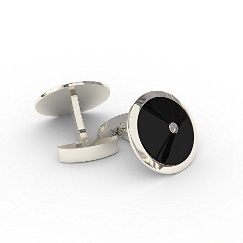 Cuff Link Set - Silver & Black Round for Men with Bonus Steel Collar Stays by Deluxury Fine Accessories (Image #3)