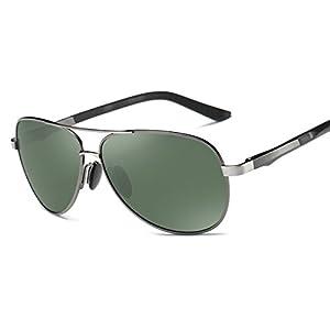 ELITERA Men/Women Polarized Sunglasses Aluminum Magnesium Alloy E210 (GRAY&DARK GREEN, 65)