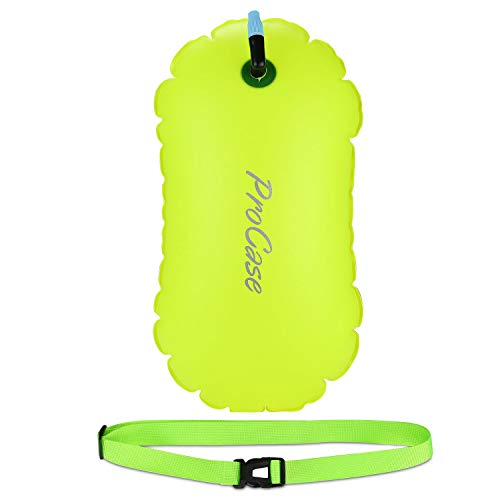 Safety Water - ProCase Swim Buoy Float, Swimming Bubble Safety Float with Adjustable Waist Belt for Open Water Swimming, Safe Swim Training, Triathletes, Kayaking, Snorkeling -Neon Yellow