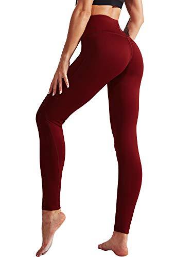 Neleus 2 Pack Tummy Control High Waist Running Workout Leggings,9017,Black,Red,US L,EU XL