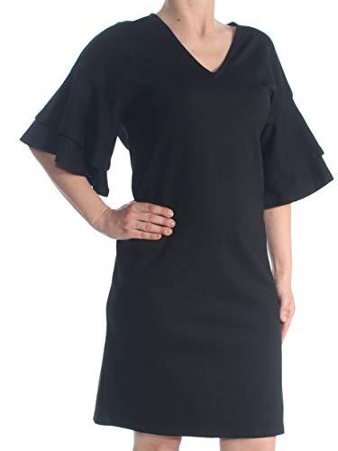 (LAUREN RALPH LAUREN Womens Raeyana V-Neck Mini Cocktail Dress Black S)