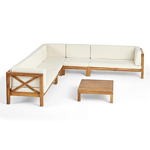 Bunny Outdoor 7 Seater Acacia Wood Sectional Sofa Set, Teak Finish and Beige
