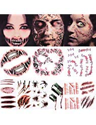 Halloween Tattoos Scar Tattoos  Face Forever Halloween Scary Tattoo Makeup Kit 3Large6Small Pack Big Mouth Tattoo Cyborg Face Trauma Series Stapled Tattoo Waterproof Safty for Kids