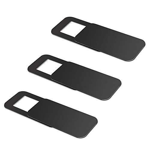 3 Pack Webcam Cover, Dostyle Ultra-Thin Web Camera Cover Slide for Laptop, Computer, Macbook Pro, Mac, PC, Surface Pro, iPhone and Android Smartphones, Protect Your Privacy and Security-Black