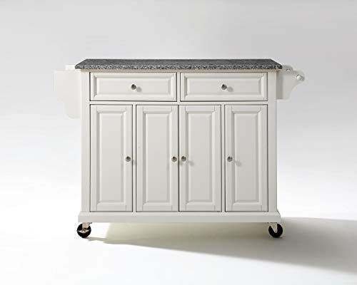 Crosley Furniture Rolling Kitchen Island with Solid Grey Granite Top, White