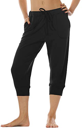 icyzone Women's French Terry Jogger Lounge Sweatpants - Active Capri Pants for Women (Black, S)
