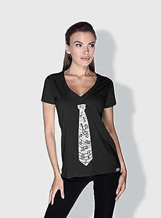 Creo Music Tie Trendy T-Shirts For Women - S, Black