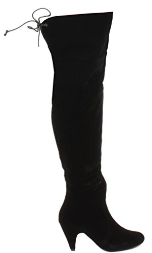 ShoeGeeks Womens Ladies Thigh High Over The Knee Party Stretch Low Mid High Stiletto Heel Boots Size Style B - Black Faux Suede