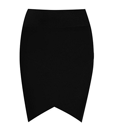 - Hego Women's Sexy Stretch Elastic Short Bandage Bodycon Black Tube Mini Skirt(Black,L)