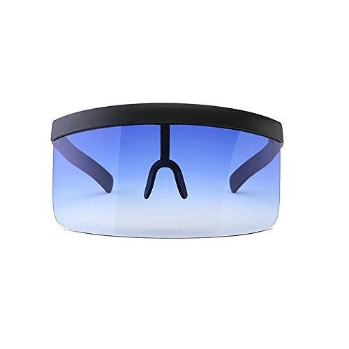 MINCL/Super Large Futuristic Oversize Shield Visor Sunglasses Flat Top Mirrored Mono Lens 172mm (gradient - Sun Glasses Visor