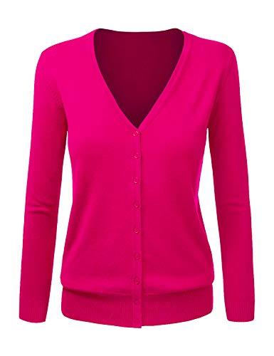 - Women's Soft Cardigan Button Down Long Sleeve V-Neck Cashmere Sweater Fushia S