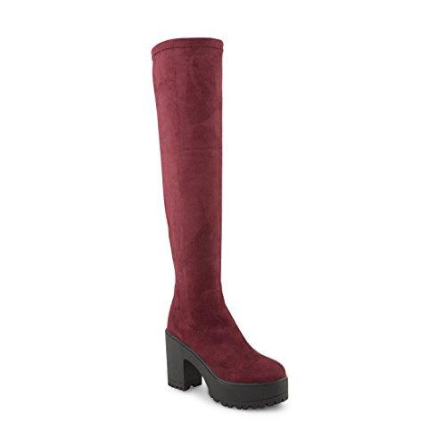 Footwear Sensation - Botas altura encima de la rodilla mujer burdeos