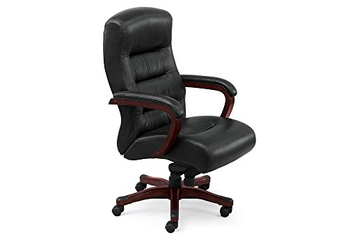 Big and Tall Executive Chair in Leather Black Leather/Faux Leather/Brunette Finish Dimensions: 27.5
