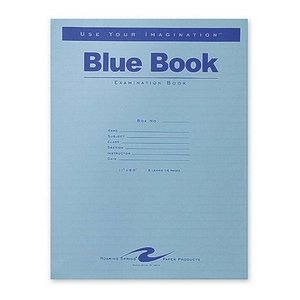 Roaring Spring Paper Products Exam Book, Wide Ruled, 8 Shts, 11''x8-1/2'', 50/PK, Blue
