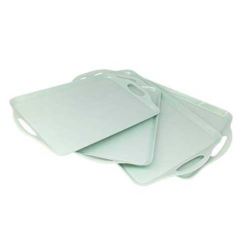 GWPP Melamine Plastic Serving Tray with Handle, Set of 2 in 2 assorted sizes. for restaurant indoor or outdor picnic camping. T9816 (Aqua Green) - Melamine Plastic Serving Tray