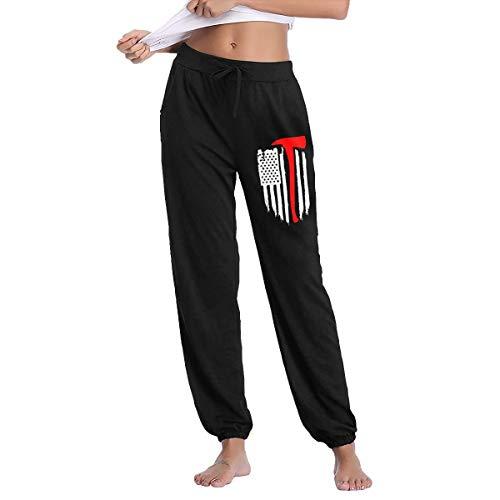 American Flag Firefighter Maltese Cross Axe Fire Halligan Women's Sweatpants Cotton Long Pants Black