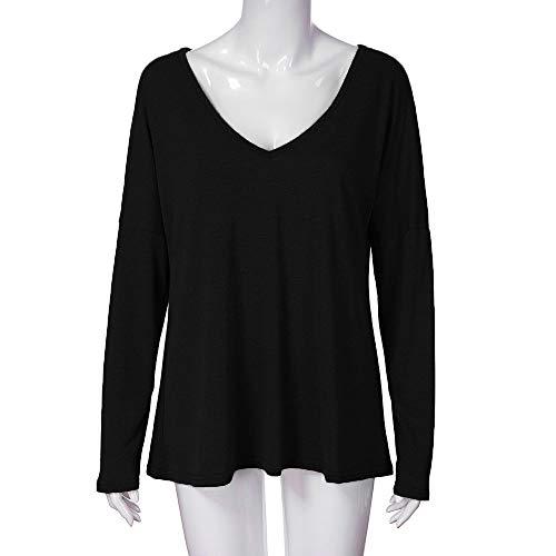 Manches Plus La Chemises Tops Doux Casual Lache Longues Femmes Confortable T Tonsee Noir Blouse Col Dames V Taille en Shirt 6wnqZ8