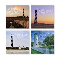 Carson OBX Lighthouse Square House Coaster Set ()