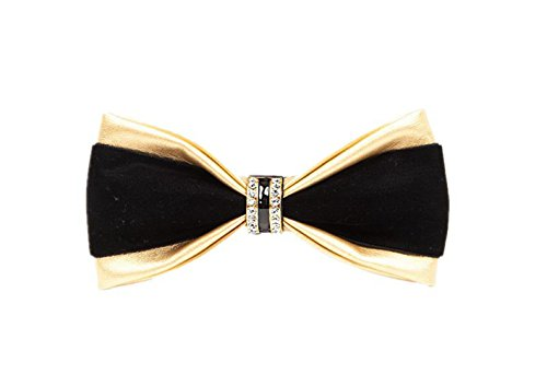 Hello Tie Mens Pre-tied Double Color PU Leather Luxury Bow Ties With Crystal Decoration-Golden