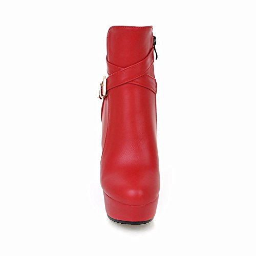 Sexy Fashion Dress Platform Womens Short High Heel Carolbar Red Buckle Boots Zip qAZ84t
