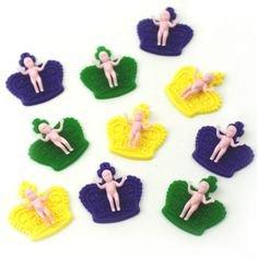Mardi Gras King Cake Baby Cupcake Toppers - 12 pcs (Mardi Gras Crowns And Tiaras)