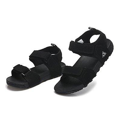 Los hombres sandalias confort par zapatos casual de resorte de goma plana negra gris morado,negro Black
