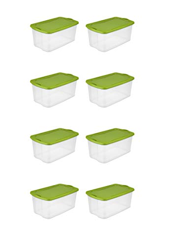 STERILITE 120 Quart EZ Carry- Spicy Lime, Case of 4 with Comfortable, Carry Thru Handles, See-Through Base and Deep recessed lid for Secure Stacking (Case of 8) ()