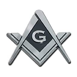 Masonic Square and Compasses Chrome Plated Premium Car Truck Motorcycle Emblem