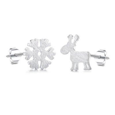 Fashmond Schnee und Hirsch Design Ohrring Ohrringe aus echte 925 Sterling Silber für Frauen Damen Kinder Mädchen Geburtstag