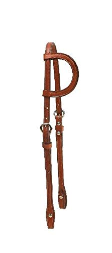 - Tory Leather One Ear Headstall with Buckles and Chicago Screws - Chestnut