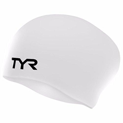 White Cap Cap Swim - TYR Long Hair Wrinkle-Free Silicone Swim Cap, White