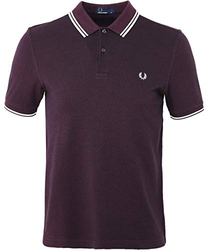 3f2bcb9f Fred Perry Men's Twin Tipped Shirt, Shiraz/Black ox, Medium