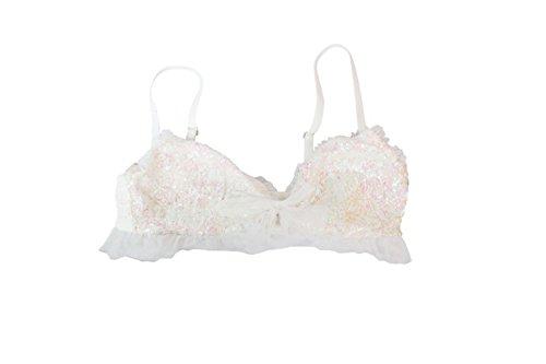 Victoria's Secret White/Light Pink Sequin Bralette (Medium)
