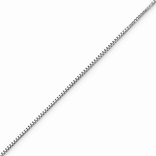 10k Gold Solid Box Chain Necklace with Spring Ring (0.4mm) - White-Gold, 16 in (White Gold Spring Ring)