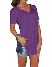 Lilon Nueva Camiseta de Mujer de Moda, Camiseta de Manga Corta con Cuello en V Top de algodón con Fondo Suelto