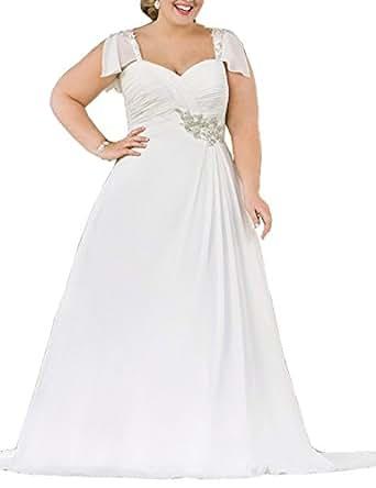 Mulanbridal Chiffon Pleated Plus Size Beach Wedding Dress