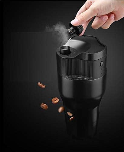 Tragbare espressomaschine kleine reisekaffeekanne 500 ml wiederaufladbare automatische elektrische kaffeekanne usb lade edelstahl tasse@Schwarz