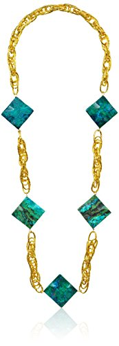 Devon Leigh Gold-Tone Chrysocolla Long Necklace, 34