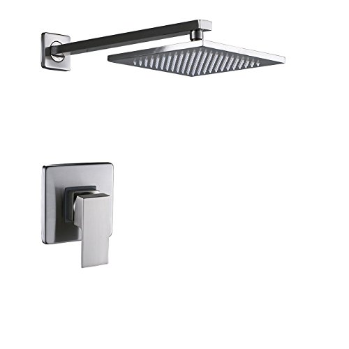 Rozin Single Lever Mixer Control 8-inch Top Rainfall Shower Set Brushed Nickel
