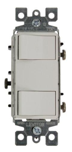 Dual Rocker - Leviton 1754-ILW 15 Amp, 120 Volt, Individual Switches, 2 Switch Combination, Illuminated Dual Rocker, White