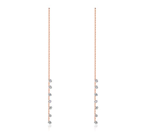 [Mealguet Jewelry Elegant Women's Rose Gold Plated Drop Cubic Zirconia Long Chain Threader Dangle] (His And Her Costumes 2016)