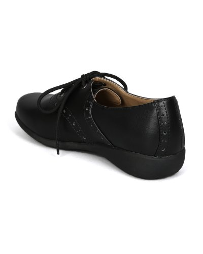 Image of School Rider Nicki-363E Leatherette Lace Up School Uniform Shoes (Toddler/ Little Girl/ Big Girl) - Black (Size: Little Kid 13)