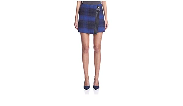 8e28955435 Karen Millen Women's Check Skirt with Faux Leather Trim, Blue/Multi 8 at  Amazon Women's Clothing store: