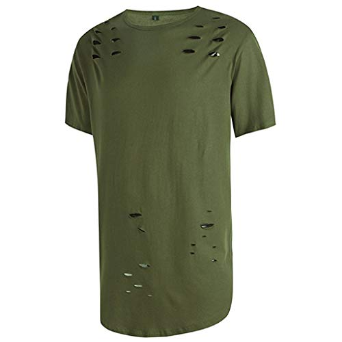 T-shirt Green Survivor - Realdo mens Mens Ripped T-Shirt, Slim Fit Solid Casual Hole Short Sleeved Tee Shirts Tops Army Green